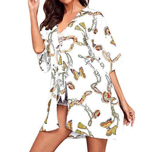 Haalife◕‿Women's Summer Clothes Boho Floral Print Sheer Chiffon Loose Kimono Cardigan Capes Casual Beach Beachwear Cover Up - Sandals Chocolate Juniors