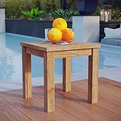 Modway Marina Premium Grade A Teak Wood Outdoor Patio Square Side End Table in Natural - PATIO REFRESH - Update your backyard or porch with inviting outdoor furniture. Effortlessly accommodate the needs of your outdoor space with furniture that's great for both entertaining and relaxing OUTDOOR TABLE - This outdoor patio table comes crafted with Grade A premium teak with textured wood grain, lasting natural resin. A durable piece of patio furniture that easily outlasts everyday use CONTEMPORARY STYLE - Indulge in good weather for years to come with Marina. The ideal place to rest a cocktail, plate of food, or current read, this side table features a sturdy wood slat table top - patio-tables, patio-furniture, patio - 513MhSHAmML. SS400  -