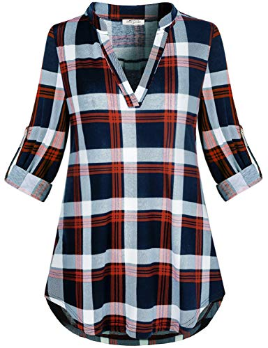 SeSe Code Full Sleeve Tops for Women,Ladies V Neck Plaid Tunic Fall Aesthetic Breathable Clothes Roll Up Dressy Baggy Pullover Casual Holiday Outfit Red and Blue -
