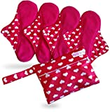 Period Mate Menstrual Cup All Colors and Sizes (White Hearts, Large)