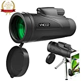 Monocular Telescope 12X50 High-powered BAK4 Prism Low Night Vision Waterproof Fog-proof Smartphone Adapter Tripod Holder for Bird Watching Hunting Camping Hiking Travelling Wildlife (A)