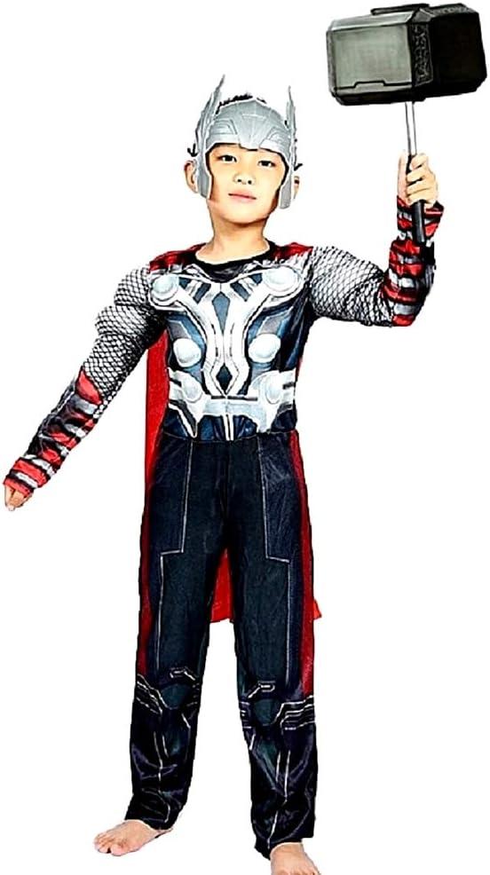 Disfraz de Thor - torso musculoso - superhéroe y máscara - disfraces para niños - halloween - carnaval - cosplay - accesorios - talla l - 6-7 años - idea de regalo original cosplay