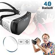 3d VR Headset, casque de réalité virtuelle, VR Gear VR SMB Bluetooth de visionnement pour iPhone, Samsung, smartphone 4.5–14cm pour 3d Films et jeux, pour la myopie