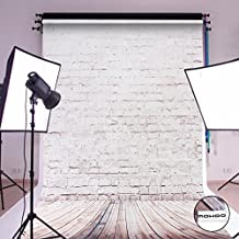 MOHOO 5X7ft Cotton Polyster Photography Background Beige Brick Wooden Floor Photography Backdrop Collapsible and Washable Studio Prop Background (Updated Material)