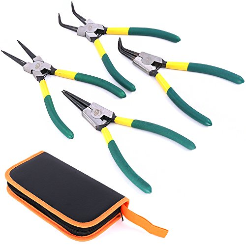 Glarks 4 Piece 7-Inch Internal/External Snap Ring Pliers Set Channellock Snap Ring Pliers