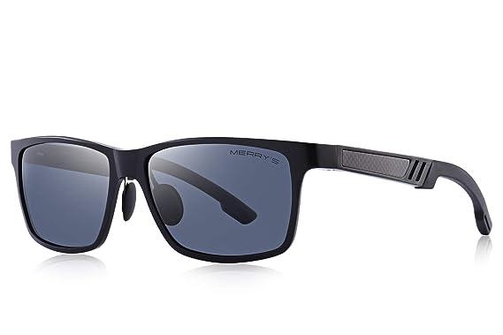 e9334c8628c MERRY S Men s Driving Polarized Sport Sunglasses Aluminum Frame Ultra Light  Sun glasses (Black