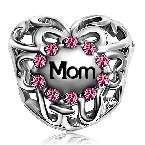 JMQJewelry Heart Love Heart Mom Pink October Charms Beads for Bracelets Valentine's Day
