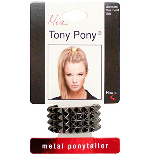 Mia Tony Pony-Chic & Fashionable Metal Ponytail Ornament Cuff With Detachable Elastic Rubber Band-Cool, Trendy, Studded Design-Beautiful Gunmetal Gray Color-Measures 0.75 Inches Wide (1 piece)