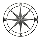 outside wall decor Zeckos Galvanized Zinc Finish Metal Indoor/Outdoor Compass Rose Wall Hanging 36 in.