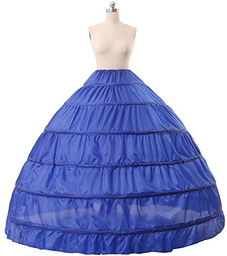 Gown New Quinceanera (Dearta 6 Hoops Rings Quinceanera Gowns Petticoat Underskirt Crinoline Half Slips (Royal Blue))