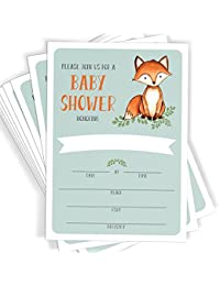 Woodland Fox Baby Shower Invitations | 25 Invitations with Envelopes | Baby Shower, Baby Sprinkle, Baby Bash Invitations BOBEBE Online Baby Store From New York to Miami and Los Angeles