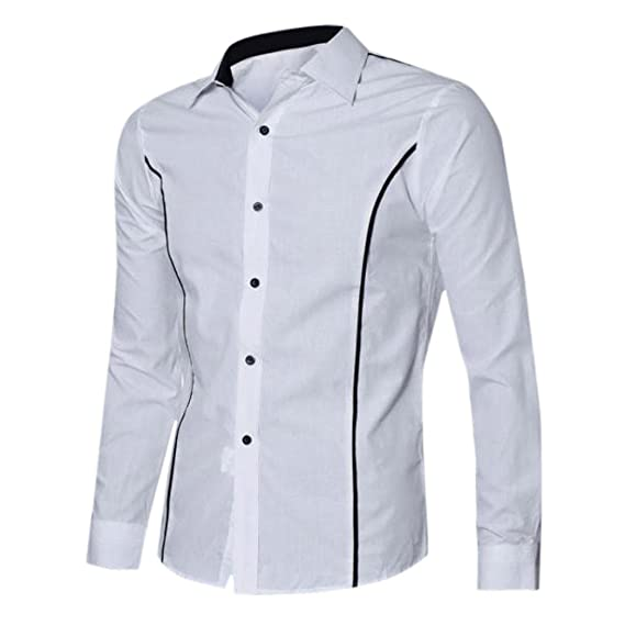 Blusa Hombre Yesmile Camiseta Camisas de Vestir Elegantes Delgadas del Ajustado de la Manga Larga de