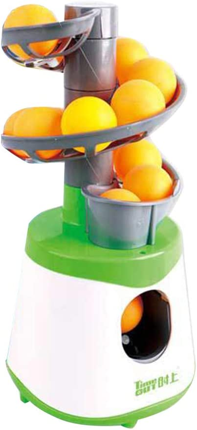 Robot de Entrenamiento de Tenis de Mesa, Lanzador de Ping-Pong con 10 Bolas, Verde y Blanco, Talla Abierta