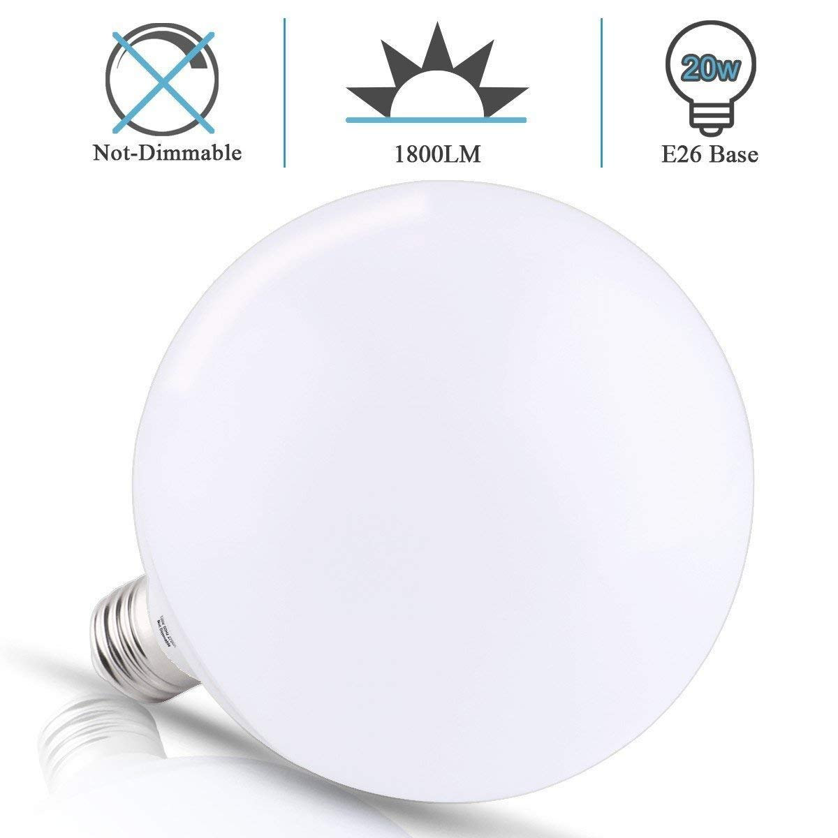 Not-Dimmable LOHAS LED G40 Replacement Bulb 20W Warm White 2700K 1800LM LED Globe Bulb for Garage Warehouse Office Light 200W Equivalent Globe Light Bulb E26 Screw Base