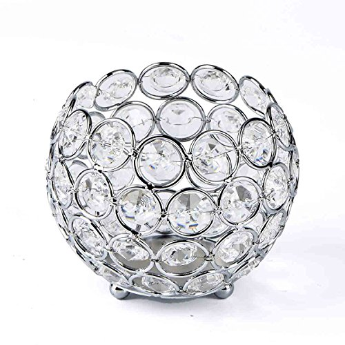 Silver Round Candle - Candle Holders Crystal Candlesticks Holders for Home Decor,Wedding Table,Best Gift for Birthday,Housewarming,Anniversary(Bowl-Silver)