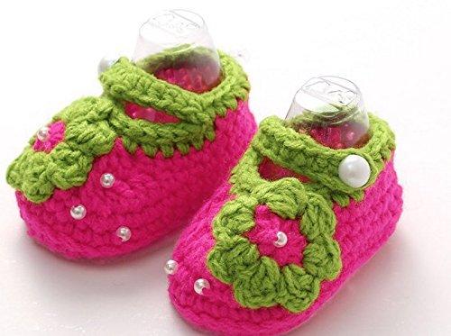 PHILNA12neonato uncinetto maglia Flowers Pearl sandali bambino scarpa