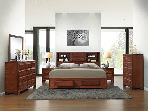 Roundhill Furniture Asger Antique Oak Finish Wood Bed Room Set, King Storage Bed, Dresser, Mirror, 2 Night Stands, Chest