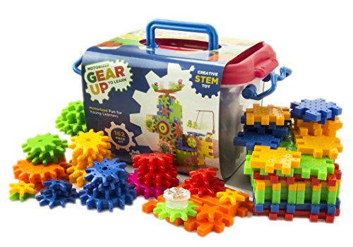 Motorized Gear Up to Learn 162 Piece Interactive Building Toy Set | Colorful Interlocking Plastic Blocks | Battery Powered Motor Spinning Gears | Creative STEM Educational Kit | Fun for Kids -