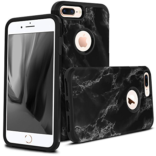Marble Logo (iPhone 8 Plus Case, Apple iPhone 8 Plus, Celljoy [Liquid Armor] Slim Fit [Dual Layer Series] TPU Bumper Protective Hybrid [[Shockproof]] (Logo Cutout) - Thin Hard Plastic Shell Cover (Black Marble))
