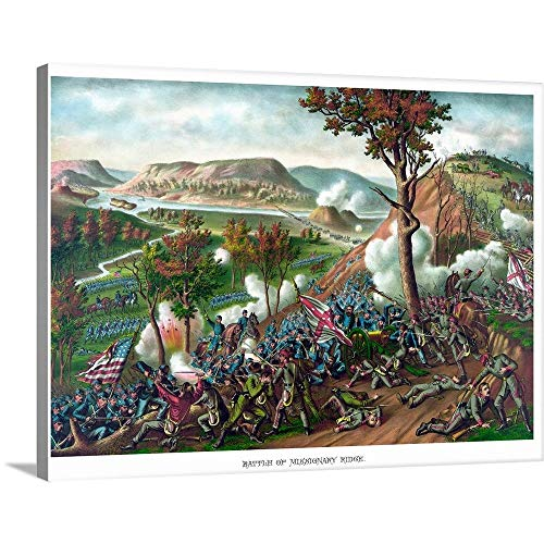 GREATBIGCANVAS Gallery-Wrapped Canvas Entitled American Civil War Print Featuring The Battle of Missionary Ridge by John Parrot - Tennessee Chattanooga Lithograph