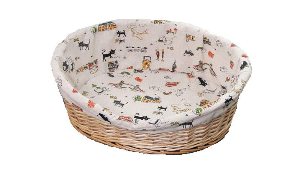 Primarycolor SmallDog Bed Basket Wicker Bed Dog Cat Cage Four Seasons Washable Warm Pet Nest For Small And Medium Pet,BlackM
