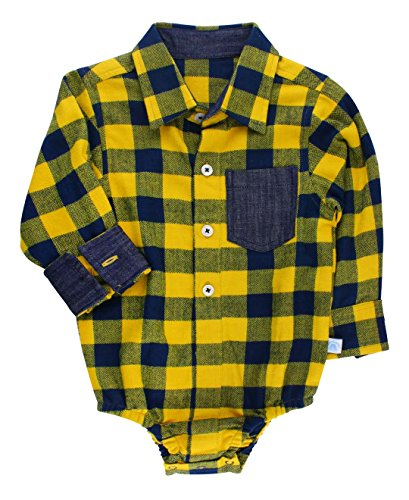 RuggedButts Baby/Toddler Boys Navy and Mustard Buffalo Plaid Button-Up Bodysuit - 12-18m