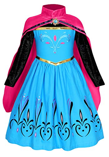 HenzWorld Elsa Coronation Party Dresses Queen Costume Princess Cosplay Dress Up Cape Outfit 4-5 Years]()