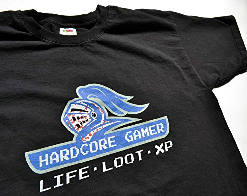 Teamzad Hardcore Gamer LIFE LOOT AND XP T Shirt Medium