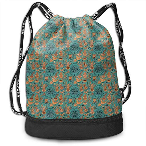 Fashion Gym Gift Printed Drawstring Backpacks Bags,Nature Scroll Art Pattern With Birds Flowers Teapot And Cups,Adjustable String Closure For Men And Women
