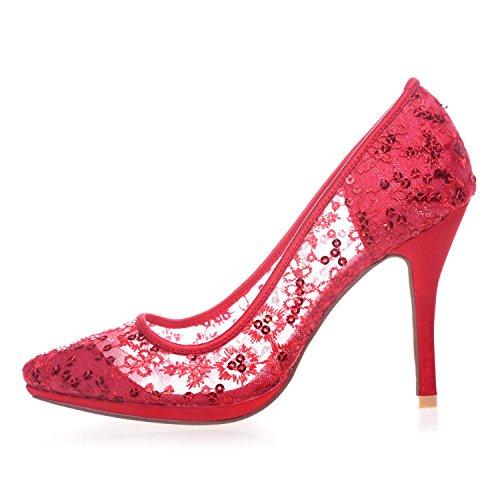 L@YC 0255-32 Weibliche High Heels Geschlossene Zehe Spitzpumps Hochzeit Plattform Satin Gericht Schuhe White