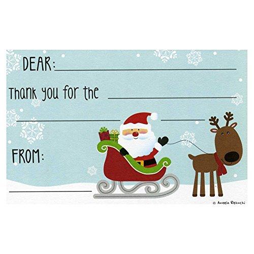 Santa's Sleigh Kids Christmas Thank You Postcards - 10 Pack