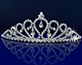 SC Rhinestones Bridal Wedding Prom Tiara Crown With Crystal Drop 29958