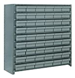 Quantum Storage Systems CL1239-401GY Closed Shelving System with Super Tuff Euro Drawers, 54 QED401 Shelf Bins, 12'' D x 36'' W x 39'' H, Gray