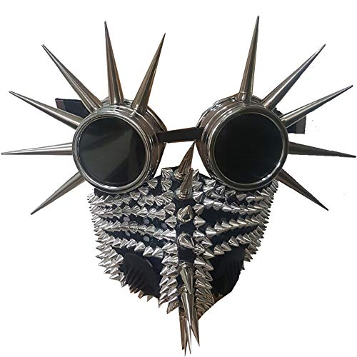 Steampunk Spike Goggles Burning Man Halloween Costumes Cosplay Rave Dust Gas Mask (mask10) Black -