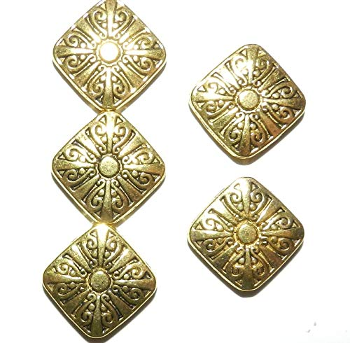 Swirl Design Diamond Gold - Sun Swirl Design Flat Square Diamond Metal Beads 10pc Antiqued Gold 17mm AG01