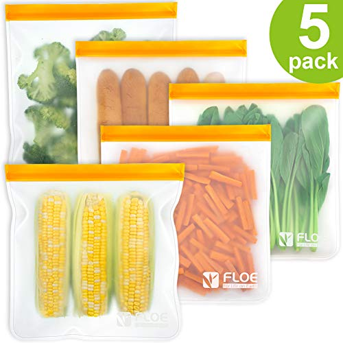 Reusable Gallon Freezer Bags - 1 Gallon Ziplock Bags 5 PACK, LEAKPROOF Gallon Storage Bags EXTRA THICK for Marinate Meats, Fruit, Cereal, Sandwich, Snack, Travel Items, Meal Prep, Home Organization