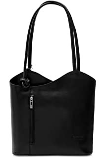 3debec53b5 BHBS Womens Leather Hand Made Shoulder or Backpack Handbag - Made In Italy  Real Leather…