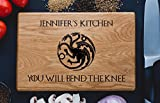 Personalized Cutting Board House Targaryen Fire And Bacon Blood Daenerys Dinner is coming Games of thrones House Stark Direwolf Engraved Custom Family Christmas Wedding Gift Anniversary Housewarming