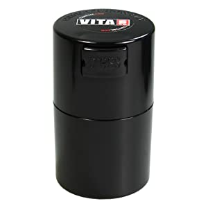 Vitavac - 5g to 20 grams Airtight Multi-Use Vacuum Seal Portable Storage Container for Dry Goods, Food, and Herbs - Black
