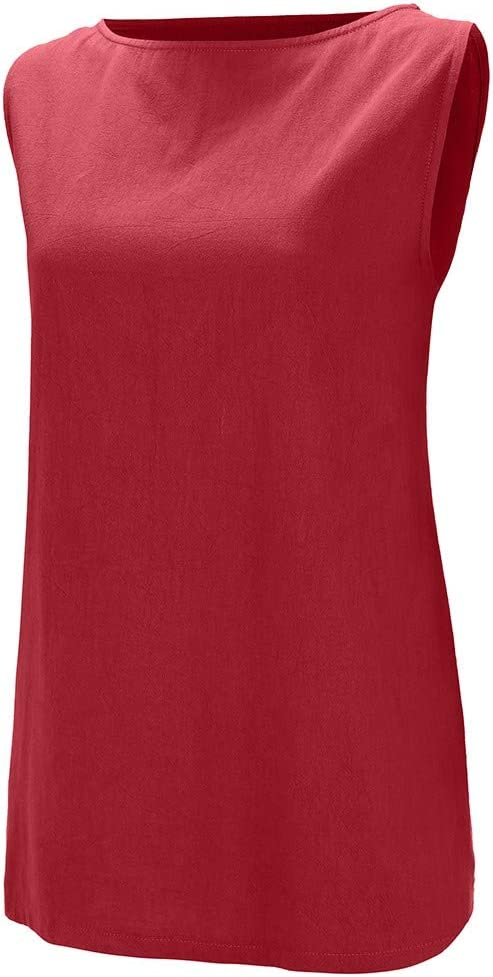 Sttech1 Women Casual O-Neck Sleeveless Solid Linen Vest Tank Loose Top