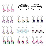M-Aimee 30 Pack Rainbow Unicorn Keychain for Birthday Party Favor Supplies Decoration Gifts
