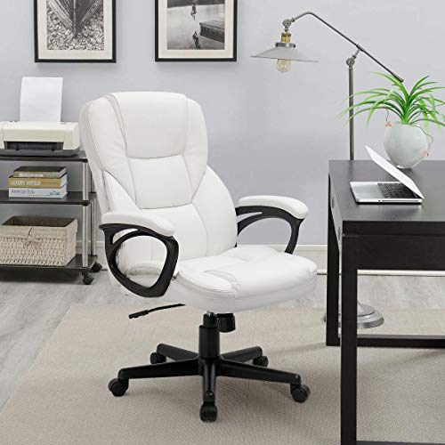 Furmax Office Exectuive Chair High Back Adjustable Managerial Home Desk Chair,Swivel Computer PU Leather Chair with Lumbar Support (White)