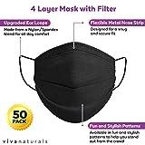 Black Adult Face Masks (50 Pack) - Premium 4-Ply