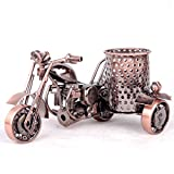Teniusimall Motorcycle Pencil Holder,Metal Motorcycle Pen Holder,Creative Office Desktop Decorative Gift (Copper Color)