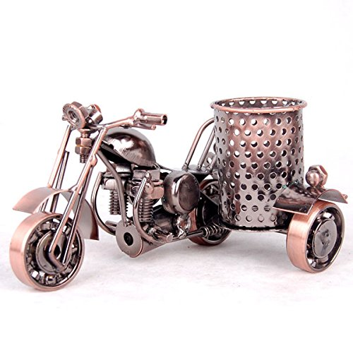 Decorative Pencil Sharpener - Teniusimall Motorcycle Pencil Holder,Metal Motorcycle Pen Holder,Creative Office Desktop Decorative Gift (Copper Color)