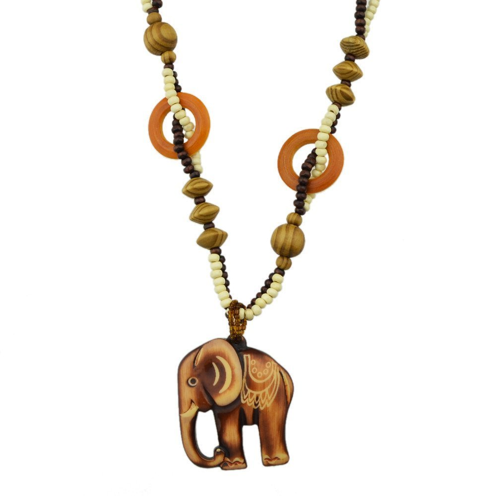 Feelontop® Boho Style Long Wood Beads Chain Big Elephant Pendant Necklace with Jewelry Pouch NC--5376