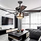 RainierLight 52 inch Modern Crystal Ceiling Fan Lamp 5 Reversible Wood Blades 3 Speed(Low/Medium/High) Remote Control Quiet Energy Saving/Decoration Fan