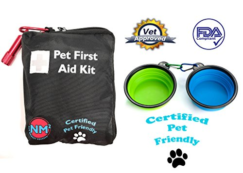 Pet First Aid Kit for Dogs And Cats | 25 Piece First Aid Kit For Your Pets | Perfect for Home, Travel, Camping, And Hiking | Comprehensive Pet Emergency Care Handbook | Certified Pet Friendly by New Market Squared