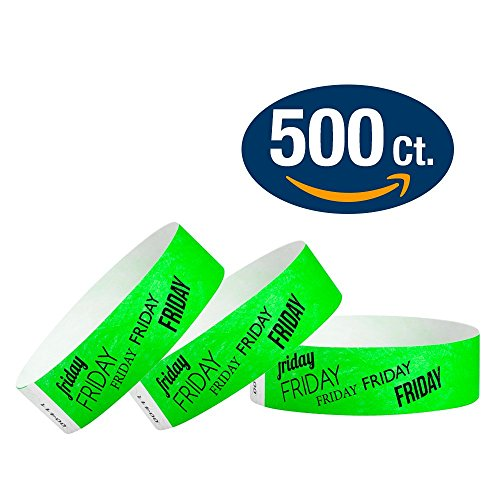 WristCo Friday Neon Green 3/4 Inch Day Of The Week 500 Count Paper Wristbands For Events