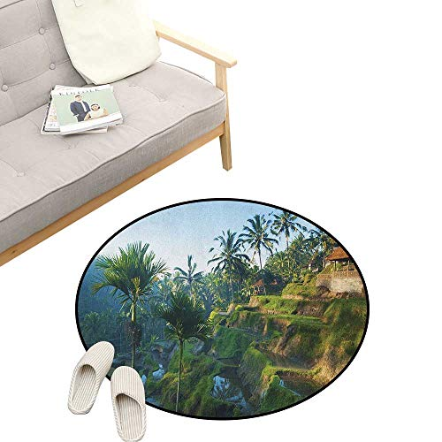 (Balinese Non-Slip Round Rug ,Terrace Rice Fields Palm Trees Traditional Farmhouse Morning Sunrise Bali Indonesia, Washable Living Room Bedroom Kids 39